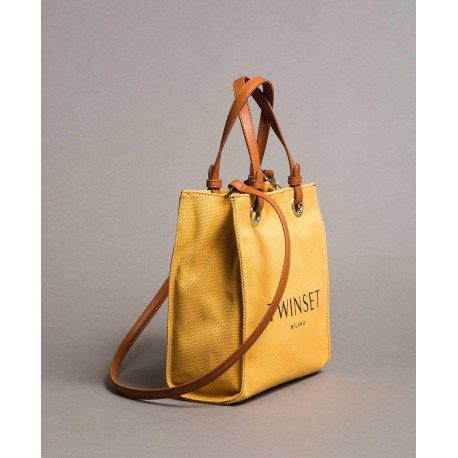 Shopper Bag Small In Canvas With Logo Twinset