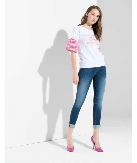 T-Shirt With Puff Sleeves Fracomina