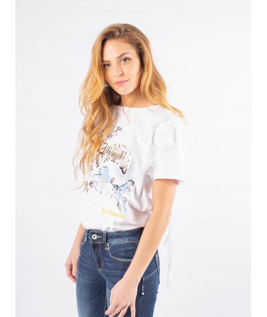 T-shirt Con Stampa E Applicazioni Fracomina