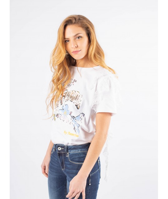 T-shirt With Print And Applications Fracomina