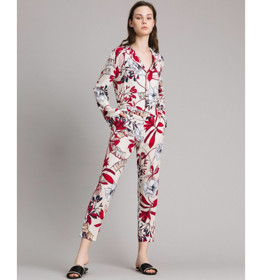 nuovo stile 1ba2e 105a6 Trousers In Crêpe, With Floral Print On Le Coeur Twinset - Vestiti ...
