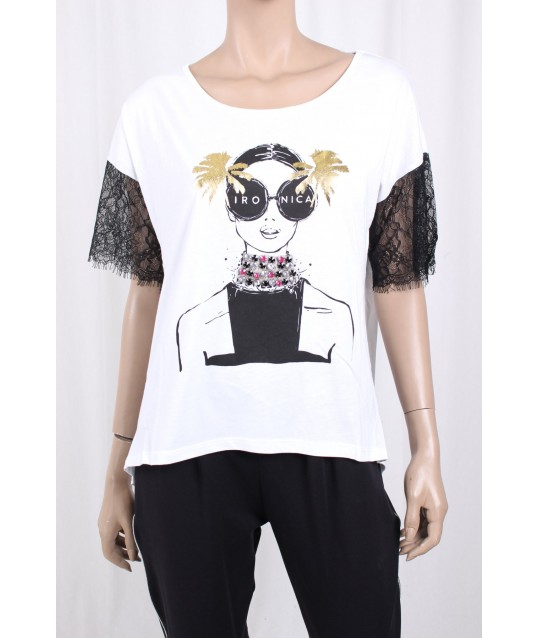 T-Shirt With Print And Ironica