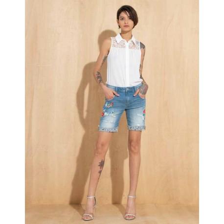 Denim Shorts With Applications Fracomina