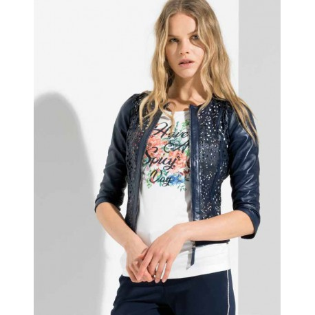 Jacket In Perforated Leather Fracomina