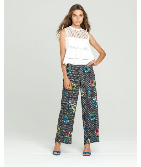 Pants With Floral Design Fracomina