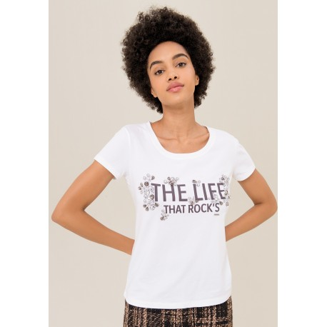 T-shirt Avec Impression Et Strass Fracomina