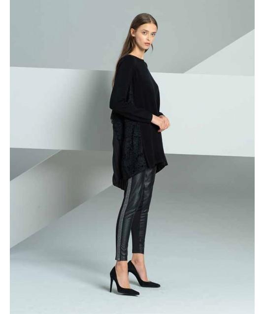 Pantalone Di Pelle Con Applicazioni Laterali Fracomina
