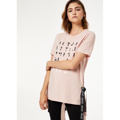 T-shirt Asimmetrica Con Fiocchi Liu Jo