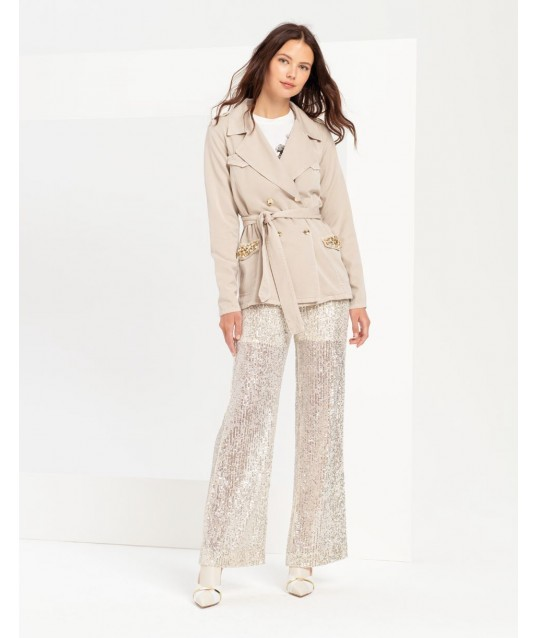 Pantalone Paiettato Con Trasparenze Fracomina