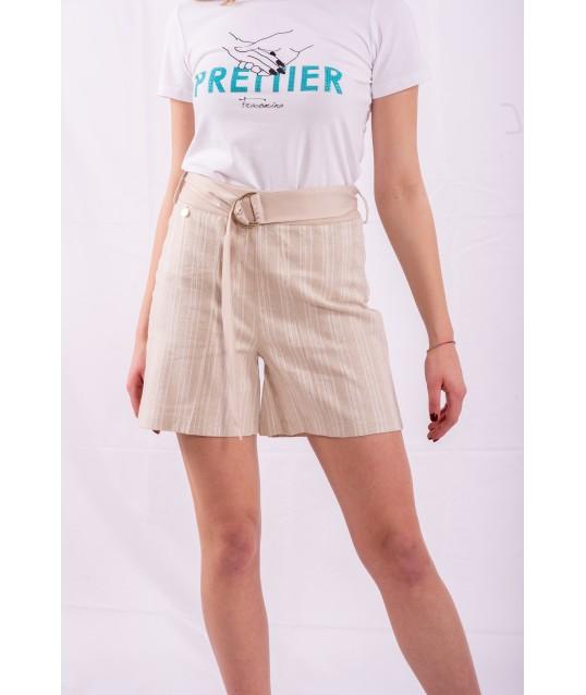 very Short Shorts With Rows Fracomina
