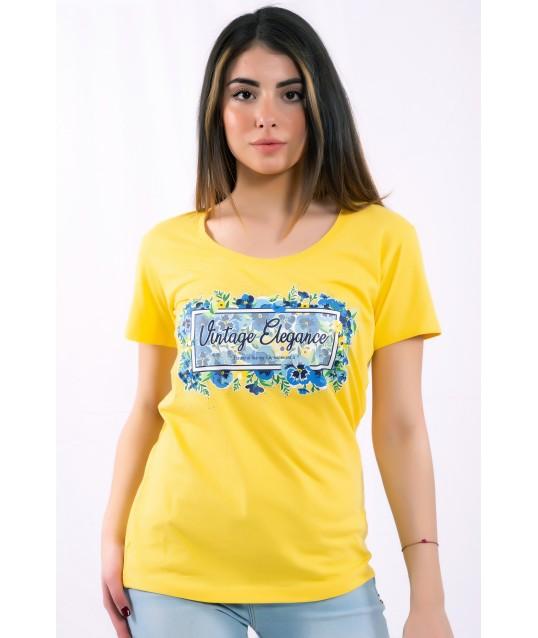 T-Shirt Tinta Unita Con Stampa Fracomina