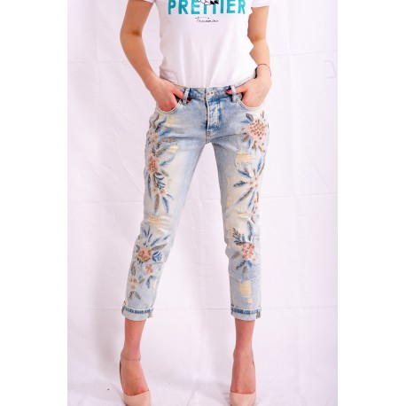 Jeans With Floral Design Fracomina