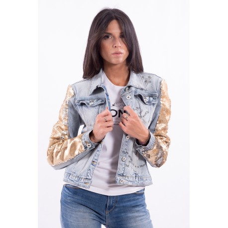 Denim Jacket With Sequins Fracomina