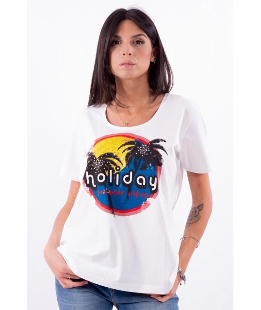 T-Shirt de Couleur unie Avec une Impression de la Personne Par Marina Rinaldi