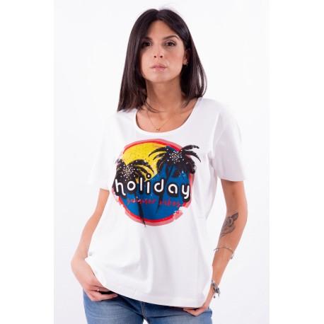 T-Shirt Tinta Unita Con Stampa Persona By Marina Rinaldi