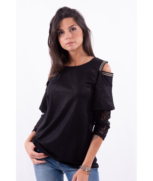 T-Shirt With Lace Sleeves Liu Jo