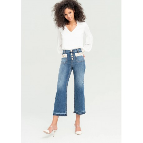Bootcut Jeans With Geometric Details Fracomina