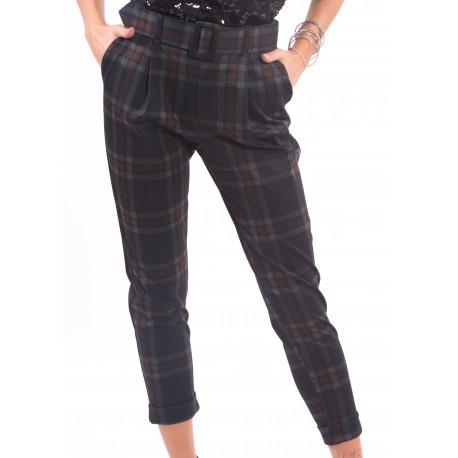 Pantaloni Con Fantasia A Quadri Fracomina