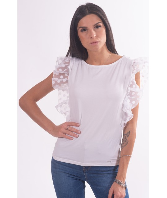 T-Shirt Con Manica Con Rouches Guess