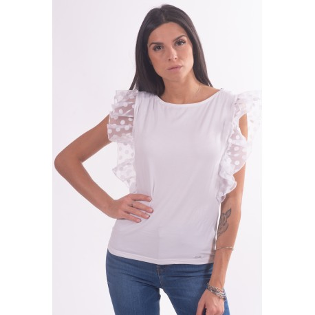 T-Shirt With Sleeve With Rouches Guess