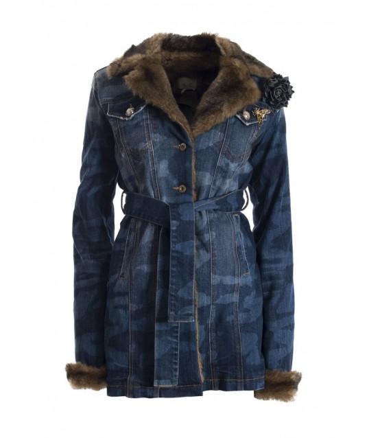 Denim Jacket With Fur Fracomina