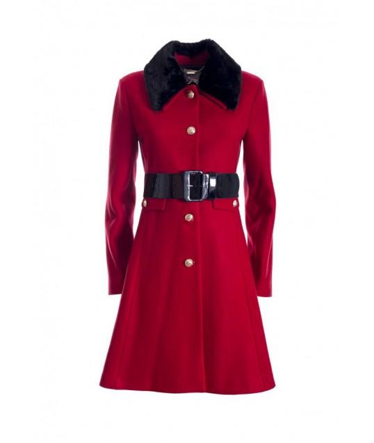 Coat With Fur Collar Fracomina