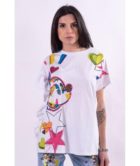 T-Shirt With Rhinestones And Disney Fracomina Print
