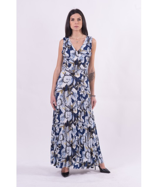 Long Pleated Dress And Floral Pattern Fracomina