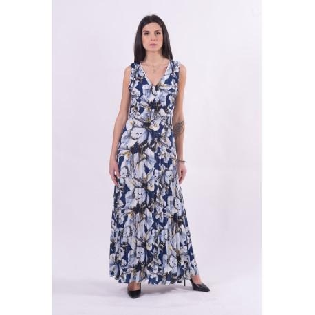 Robe longue plissée et motif floral Fracomina
