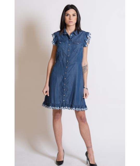 Denim Dress With Fracomina Embroidery