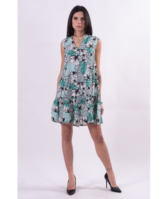 Dress With Flounce And Fantasy Fracomina