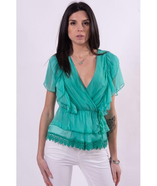 Blusa Con Rouches E Merletto Guess