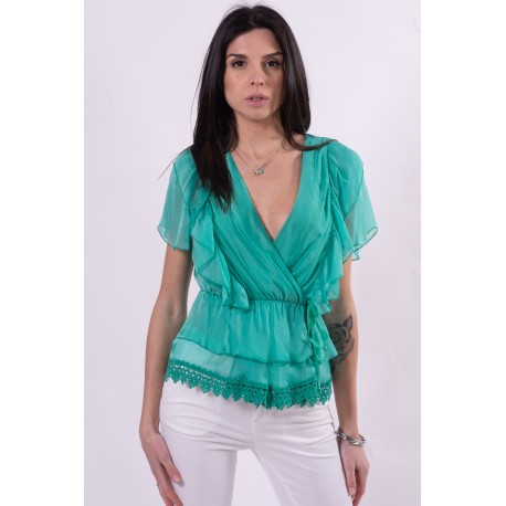 Blouse With Rouches And Guess Lace