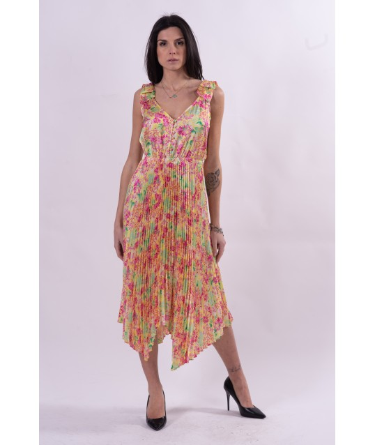 Dress With Floral Pattern And Plissè Guess