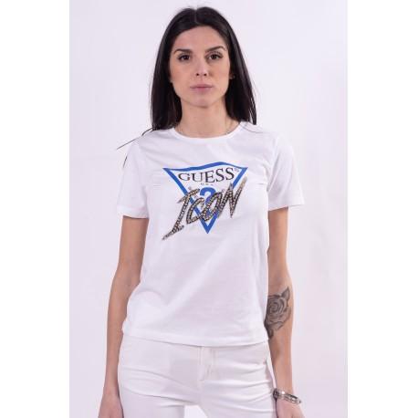 T-Shirt Con Applicazione Di Strass E Logo Guess