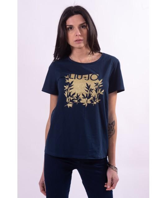 T-Shirt Con Stampa Logata Liu Jo
