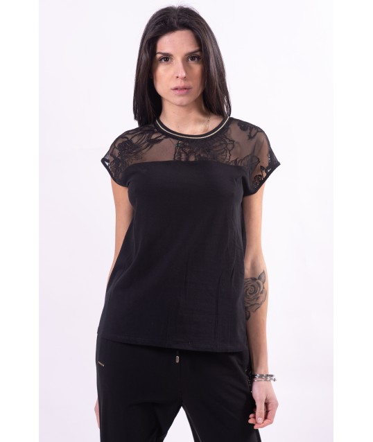 T-Shirt With Embroidery And Transparencies Liu Jo