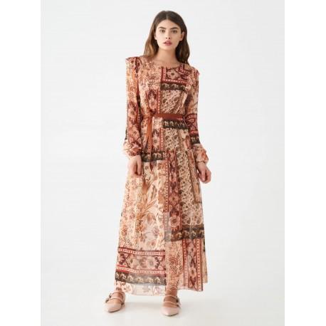Robe longue imprimée Foulard Rinascimento