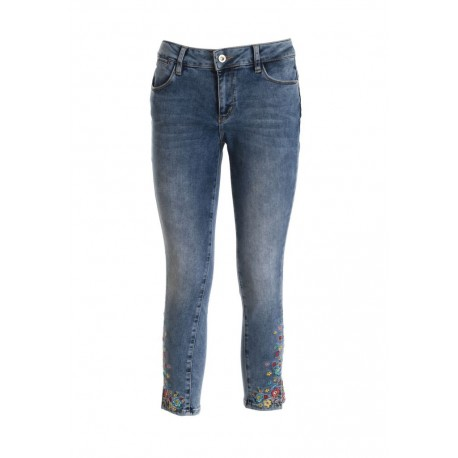 Denim With Floral Inserts Fracomina