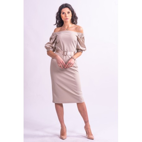 Abito Midi Off-Shoulder