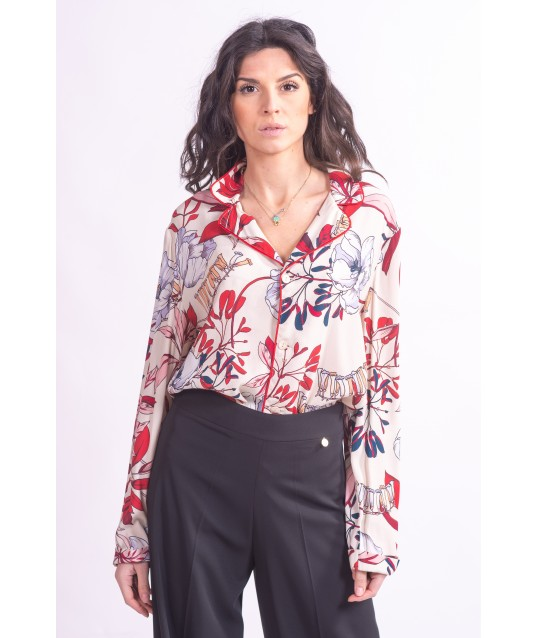 Shirt In Crêpe, With Floral Print On Le Coeur Twinset