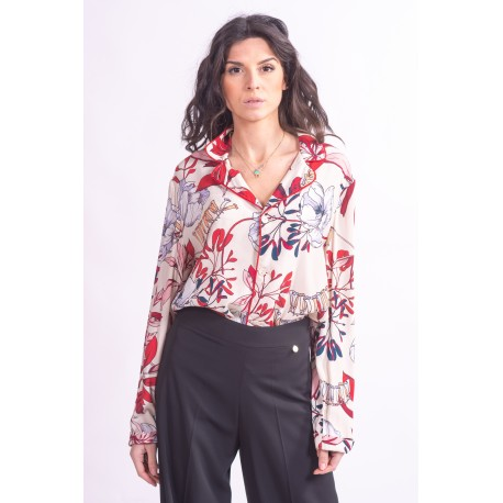 Shirt In Crêpe, With Floral Print On The Coeur Twinset