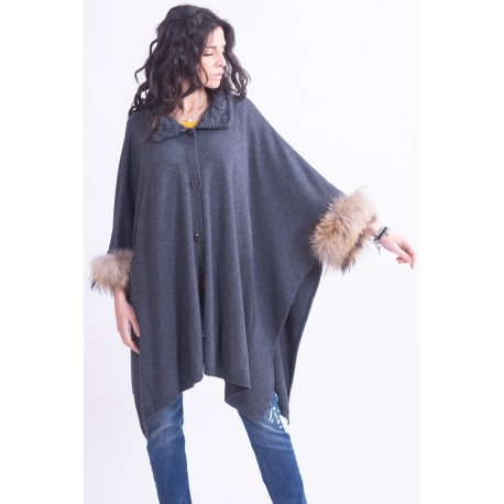 Cape With Fur At The Sleeves Francesca Mercurial