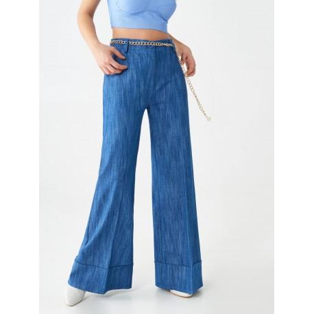 Pantaloni Flare In Denim Rinascimento