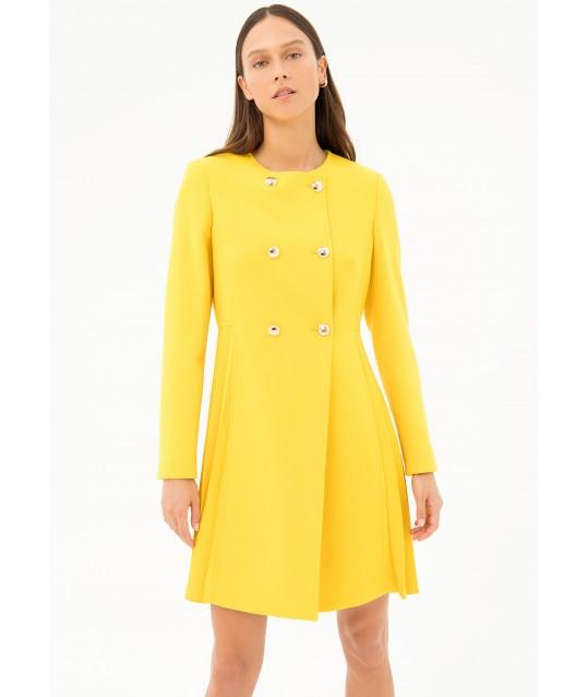 Regular Duster Coat In Fracomina Fabric