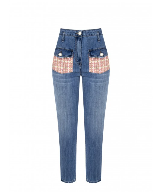Jeans Con Tasche In Tweed Rinascimento