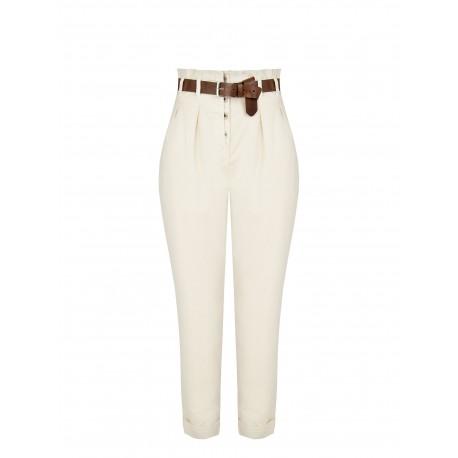 Pantaloni A Vita Alta In Cotone Rinascimento