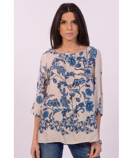 Blouse With Purple Luisa Floral Pattern
