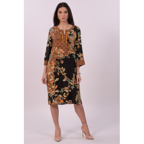 Long Dress With Purple Luisa Floral Pattern