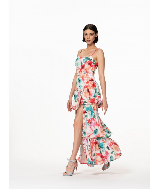 Renaissance Floral Asymmetrical Dress